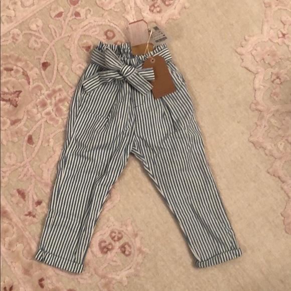 c9ed859b Zara Bottoms | Girls Blue White Pants Size 3 4 | Poshmark